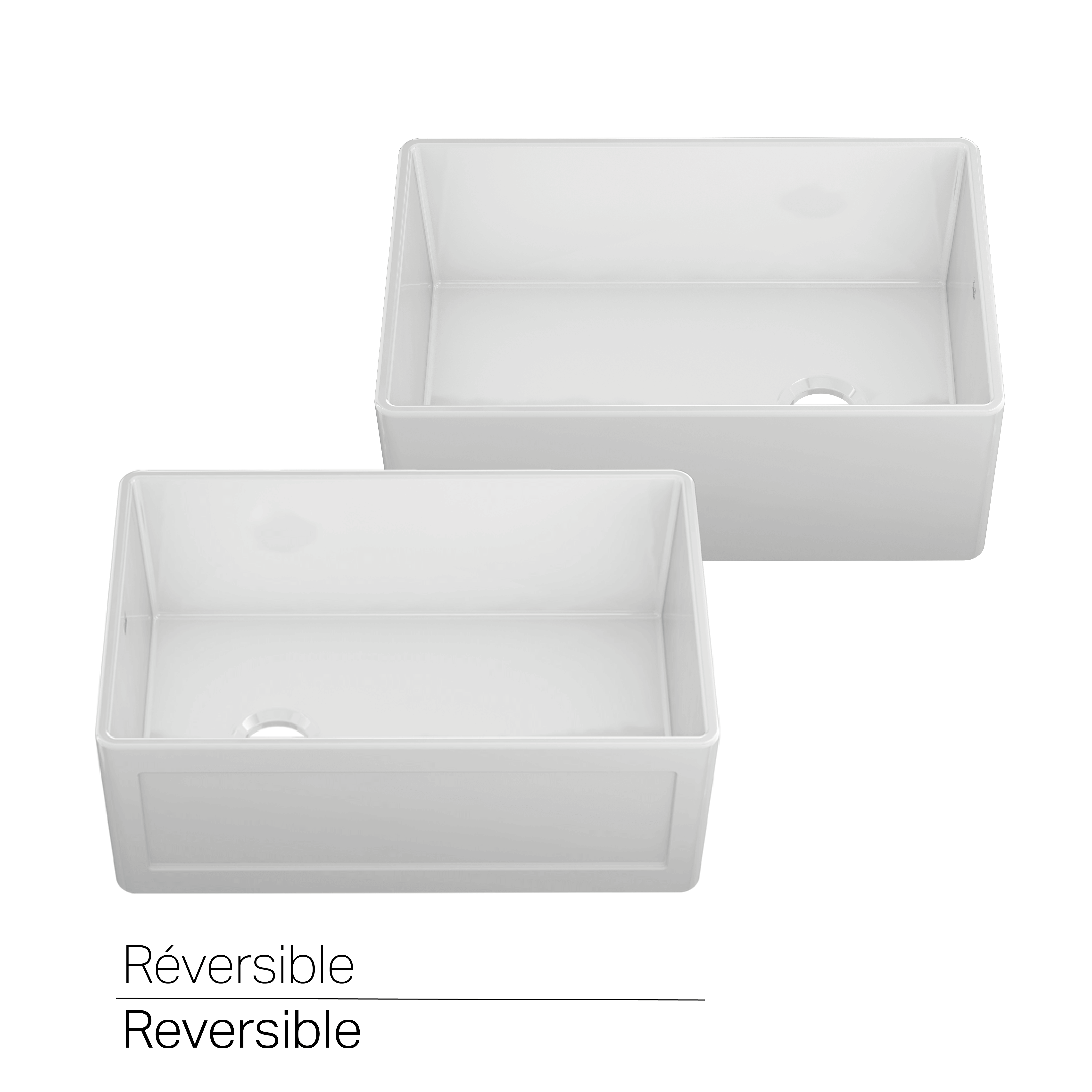 Bowl Reversible Farmhouse Kitchen Sink ProTerra Fireclay - ProChef